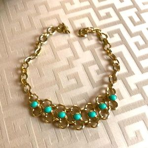 Banana Republic Brass/Turquoise Statement Necklace